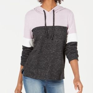 Hippie Rose Jrs Colorblocked Velvet-Trimmed Hoodie
